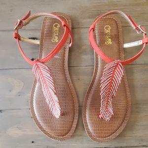 Carlos by Carlos Santana red beaded thong sandal